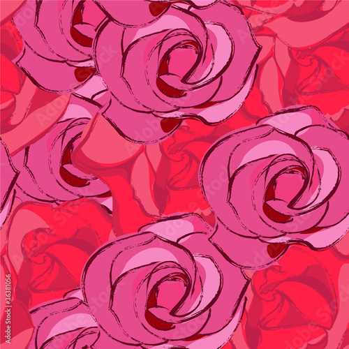 Keuken foto achterwand Abstract bloemen seamless roses background