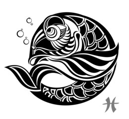 Fototapeta Znaki Zodiaku Zodiac signs - Pisces. Tattoo design