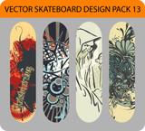 Vector pack of 4 skateboard designs