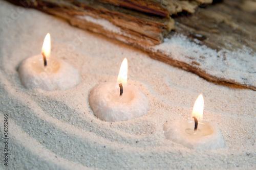 Doppelrollo mit Motiv - Relaxen am Strand bei Kerzenschein (von Jeanette Dietl)