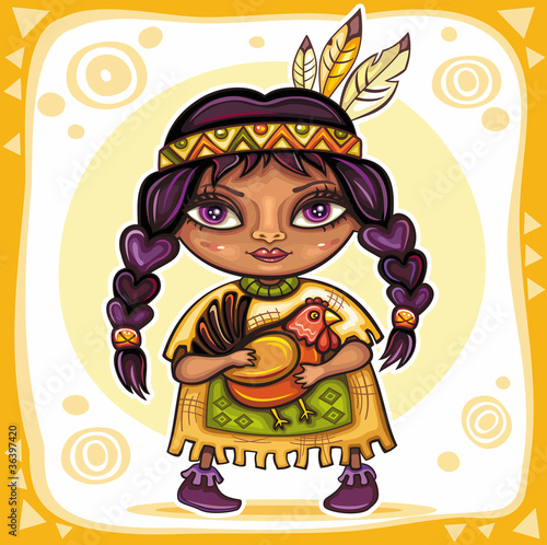 Poster Indiens Thanksgiving theme: Cute American Indian girl with turkey
