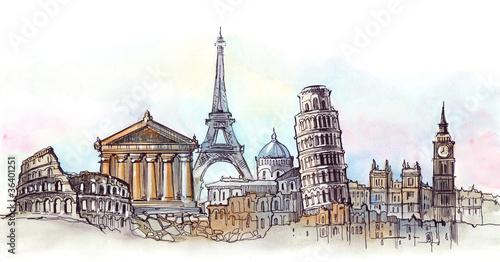 Nowoczesny obraz na płótnie world places of interest panorama (series C)