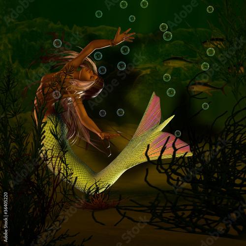 Deurstickers Zeemeermin Nixe unter Wasser