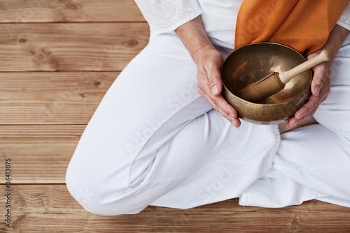 Doppelrollo mit Motiv - Detailaufnahme Yoga & Klangschale (von jd-photodesign)