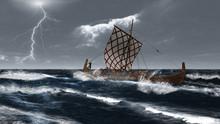 Viking Longship In An Atlantic Storm