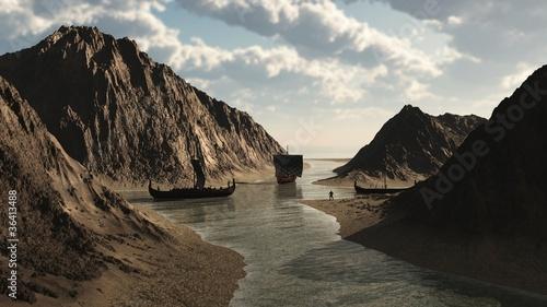 Fotografie, Obraz  Viking Longships in Icelandic Inlet