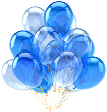 Party Balloons Blue Cyan Translucent. Decoration Of Birthday