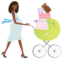 African American Mother With Baby Carriage Full Of Presents