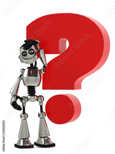 Photo sur Aluminium Art abstrait funny robot in questio mark