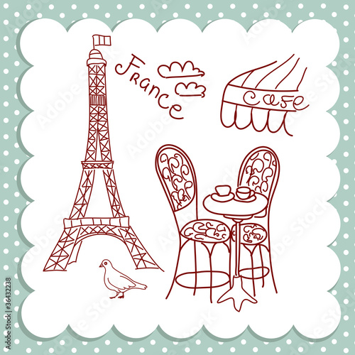 Photo sur Toile Doodle Cafe in Paris