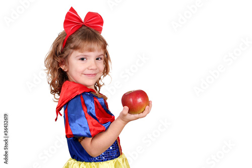 Fotografie, Obraz  little girl snow white with apple