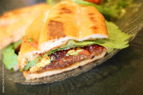 Photo  Torta Milanese or Mexican style sandwich at a local restaurant.
