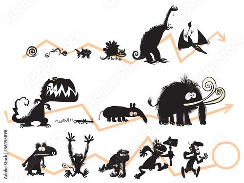 Fotografia, Obraz  Funny Animal and Human Silhouettes on the Evolution scale.