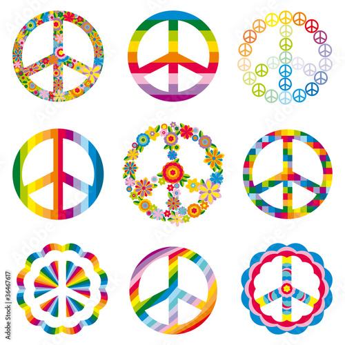 Photo  set of peace symbols