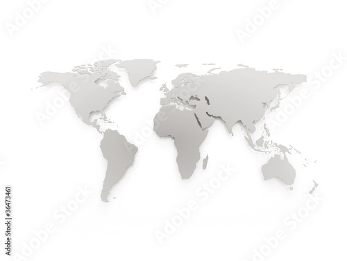 Tuinposter Wereldkaart Grey business world map