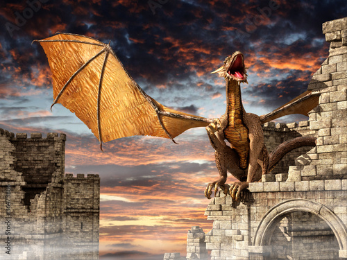 Obrazy smoki dragon-on-castle