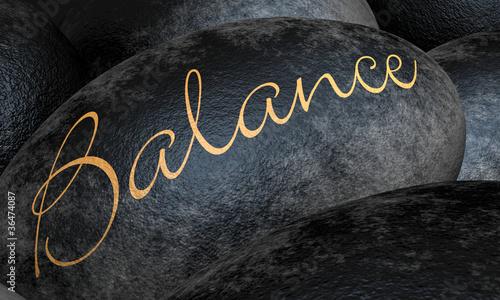 Plissee mit Motiv - Schwarze Steine - Balance