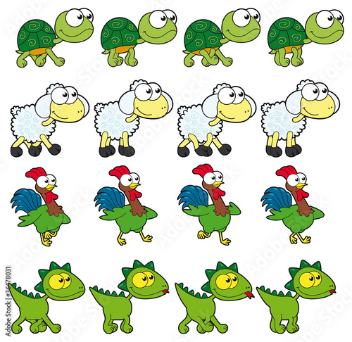 Poster Chambre d enfant Animal Walking animations. 4 frames in loop x character