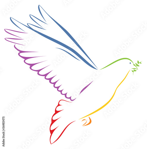 Taube regenbogenfarben mit Zweig auf weißem Hintergrund #36483475