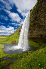 Obraz na Szkle Wodospad Wasserfall Seljalandsfoss Island