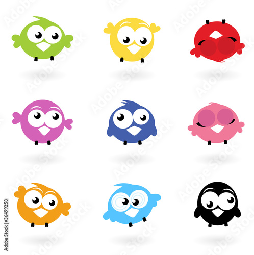 Poster Oiseaux, Abeilles Cute color vector Twitter Birds icons collection isolated on whi