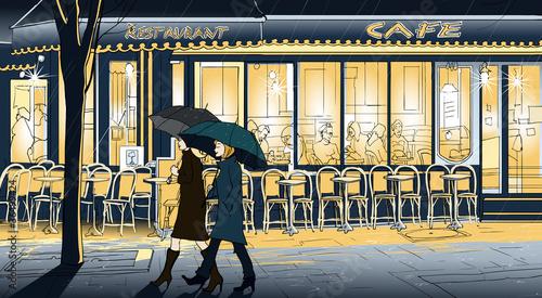 Foto auf AluDibond Gezeichnet Straßenkaffee Strolling in the rain