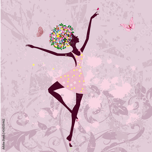 Recess Fitting Floral woman ballerina girl with flowers on grunge background