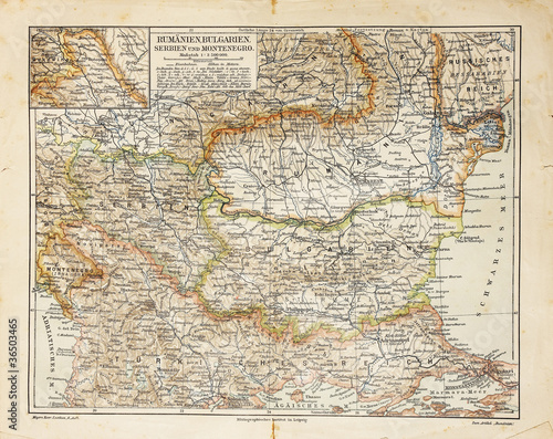 Photo  Vintage map of Eastern Europe