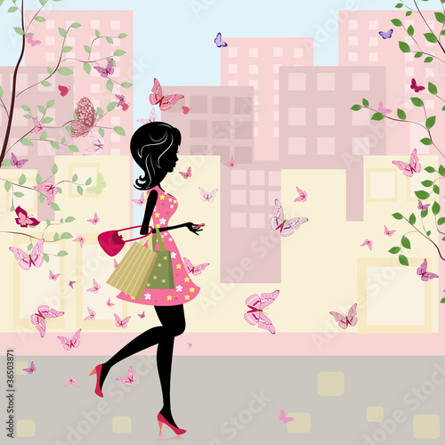 Fotobehang Bloemen vrouw girl with shopping in the spring