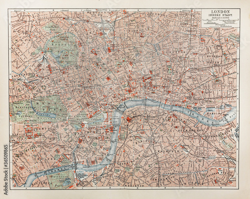 Fotografie, Obraz  Vintage map of London
