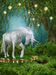 Obraz na płótnie Canvas Magiczny ogród z jednorożcem
