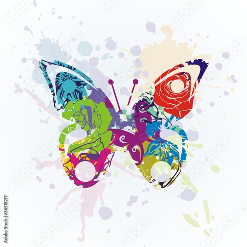 Canvas Prints Butterflies in Grunge vector butterfly
