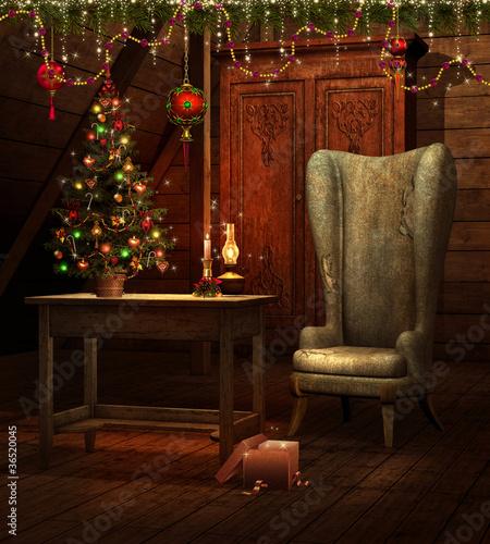 Fotografering  Świąteczny pokój z fotelem i choinką
