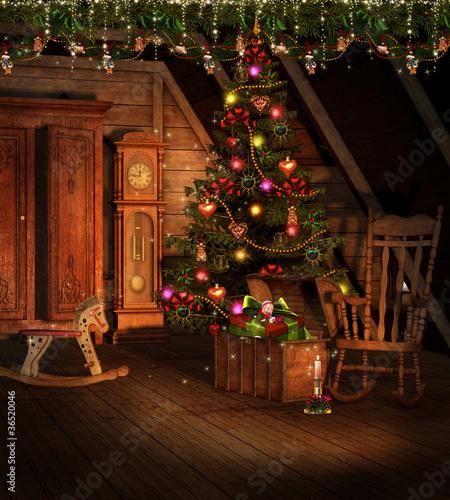 Fototapeta Pokój na strychu ze świątecznymi ozdobami obraz na płótnie