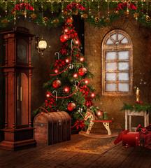 Fototapeta Boże Narodzenie/Nowy Rok Świąteczny pokój retro z czerwonymi ozdobami