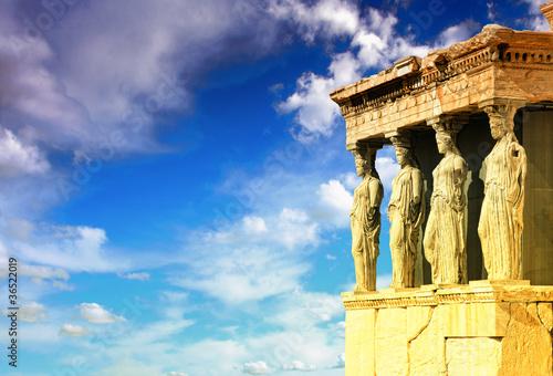 Montage in der Fensternische Athen Caryatids, erechtheion temple Acropolis