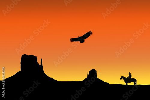 Cadres-photo bureau Brique cowboy dans le desert, monument valley, illustration