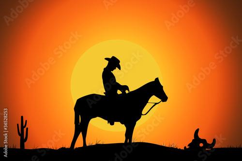Foto op Aluminium Texas un cowboy dans le desert au coucher de soleil, illustration