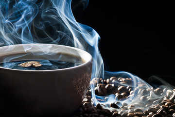 Fototapeta Kawa Blue smoke and roasted coffee