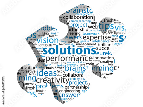 "Fotografie, Obraz  ""SOLUTIONS"" Tag Cloud (ideas jigsaw piece questions and answers)"
