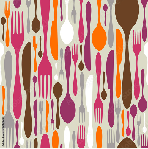 Tapety do aneksu kuchennego  cutlery-silhouette-icons-pattern-background