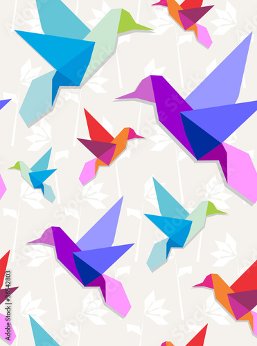 Poster Geometric animals Origami hummingbirds pattern background