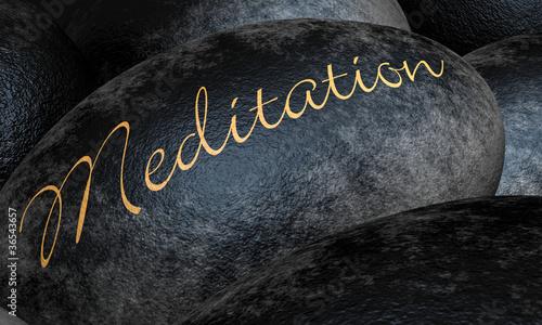 Photo  Schwarze Steine mit Text - Meditation