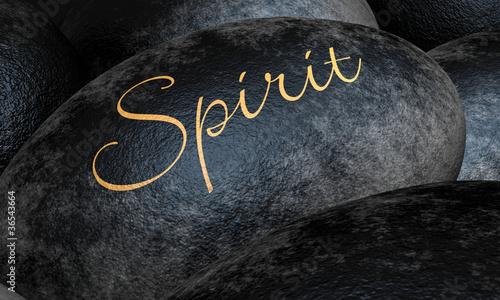 Photo  Schwarze Steine mit Text - Spirit