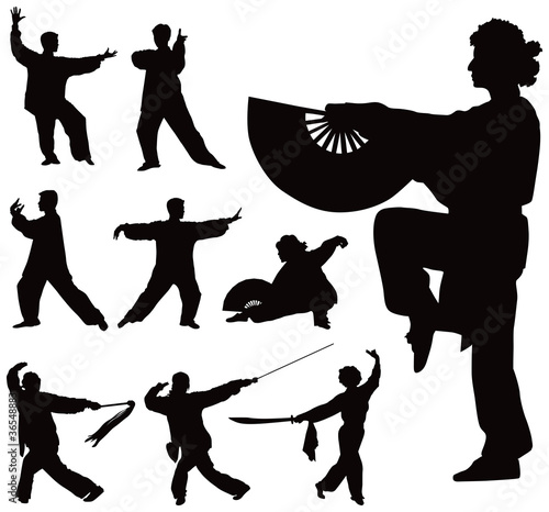 Fototapeta  Tai Chi silhouettes collection