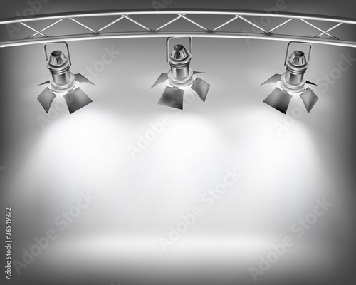 Poster Licht, schaduw Wall with lights. Vector illustration.