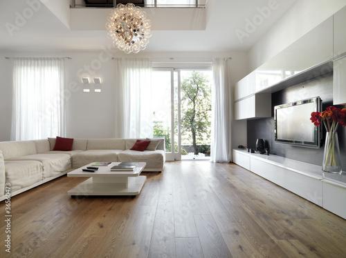 Fotografia  moderno soggiorno con porta finestra aperta sul giardino