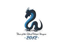 2012 Year Of Black Water Dragon Vector Greeting Card, Calendar