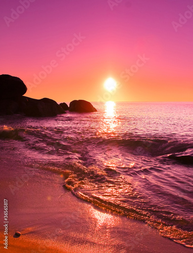 Spoed Foto op Canvas Roze Background Sea Landscape