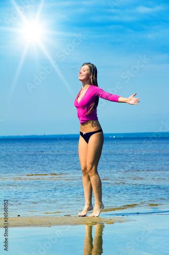 Fotobehang womenART Woman under Sun Beach Exercising